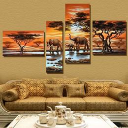 Скидка фотографии панели 4 Панель Современные слон холст картины на холсте Африканский пейзаж картины КУАДРОС Decoracion для гостиной Unframed XY029