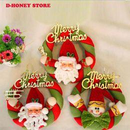 Wholesale Christmas Door Decor Wholesale - New Lovely Christmas Wreath Santaclaus Snowman Door Hotel Festive Decorative Supplies Festive Decor Free Shipping