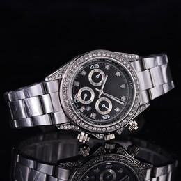 Wholesale New AAA Dress Men watches Luxury watch Diamonds Calendar Dial Stainless Steel Band Quartz Wristwatches For men role relojes clock Best Gift
