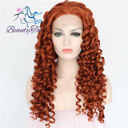 "100% Brand New High Quality Fashion Picture full lace wigs>> 16""Red Wine Color Hand Tied Long Curly Glueless Synthetic Lace Front Party Wig"