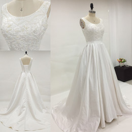 Exquisite Beads Pearls Top Plus Size Satin Wedding Dress Scoop Sleeveless Corset Lace-up Back Real Picture Pockets Bridal Gowns Sweep Train