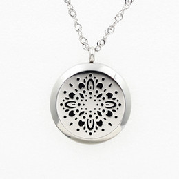 Wholesale 5PCS Style Flower Vision Perfume Locket Necklace Pendant MM Diffuser Stainless Steel Necklace Pendant With Free Pads