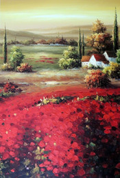 Framed Italian Red Poppy Valley Country Homes Sunset,Pure Hand-painted Art Oil painting On Thick Canvas,Multi sizes Available J010