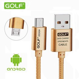 2017 cargos cables iphone GOLF Micro USB aleado-trenzado 2.1A Max 200cm de longitud Cable de sincronización de datos y de carga rápida para Samsung Galaxy HTC HUAWEI LG y Nikoa teléfono celular cargos cables iphone Rebaja