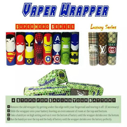 Wholesale Superhero Luxury Series Superman Batman Captain America Battery PVC mm Skin Sleeve Shrinkable Tubing Wrap Heat Shrink Re wrapped DHL