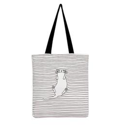 Acheter en ligne Sieste chat-Sacs à provisions en gros-épaule Sacs à provisions pour femmes Sacs de plage Catoon Cute Striped Napping Sacs à main en toile de coton / Eco Daily Femme Sacs