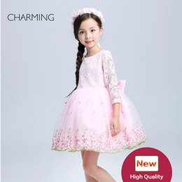 Wholesale children s clothing long sleeved dress high quality lace dress fabric tutu style kids designer clothes websites shopping