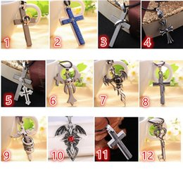 Mixed Creative Necklace Stainless Steel Men's Layered Cross skeleton Wings Lover Sun Pendant Necklace for Men women Jewelry