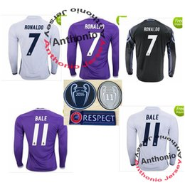 Wholesale champion league real MADRID LONG SLEEVE SOCCER JERS camisetas futbol RONALDO BENZEMA BALE JAMES thailand quality football jerseys