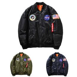 Promotion voler v Vente en gros - Nouveau MA-1 Veste marine Navy Navy Navy, Nylon Épais Winter Letterman varsity American College Bombardier Flight Jacket pour homme