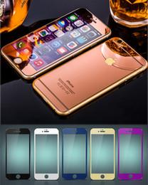 Promotion plaque d'écran Pour iphone 7 Coloré en verre trempé Protecteur d'écran miroir style plaquage avant et arrière film avec paquet de vente au détail pour iphone 4s 5s 6 7 plus