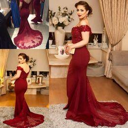 Elegant Mermaid Prom Dresses 2018 Off Shoulder Backless Vestidos de Festa Long Formal Evening Gowns Cheap Custom Made