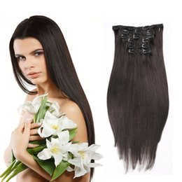 Big Sale Women Sexy Long Straight Clip In Human Hair Extensions 7pcs set Colored Straight Crochet Wholeasle Price #613 Blonde Brown Optional