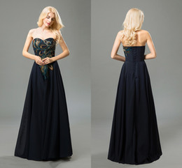 Real Vintage Navy Prom Dresses Sweetheart Sleeveless A Line Embroidery Chiffon Long Formal Dresses Evening Wear Cheap