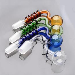 Descuento shisha humo de colores 2017 más nuevo tubo de bombilla de fumar accesorios de tubería para Shisha coloridos tabaquismo tubos de la mano doblada burbuja cuencos 14 mm macho