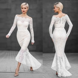 off shoulder White Lace Dress Women Long Sleeve Slash Neck Fishtail Elegant Hollow Out Dinner Party Formal Dress