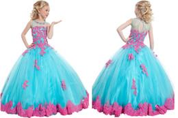 Blue Pink más barato Flor Girl Dresses Appliques Beads Niñas desfile Kids Party Ball Gowns Princesa Niños Cumpleaños Junior Bride desde pequeña novia vestido de niña de las flores fabricantes