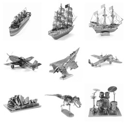 Wholesale 3D Metal Puzzle D Laser Cut Model D Jigsaw Jurassic Park Dinosaur Skeleton Series Contain Pterosaur Tyrannosaurus Rex DIY Gift