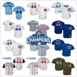 Wholesale 2016 World Series Champions Patch Anthony Rizzo Chicago Cubs Black Army Green White Gray Blue Cream MLB Baseball Jerseys