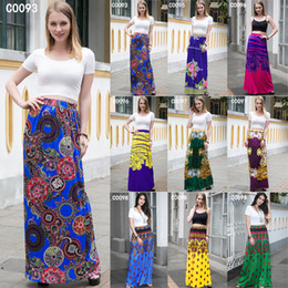 Wholesale plus size long tulle skirts summer style colorful print chiffon maxi skirts women american apparel long skirt XD126