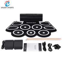 Promotion ensemble de batterie électronique Vente en gros-Portable électronique Roll Up Drum Pad Set 9 Silicon Pads haut-parleurs intégrés avec des baguettes Pieds pédales USB 3.5mm Audio Cable