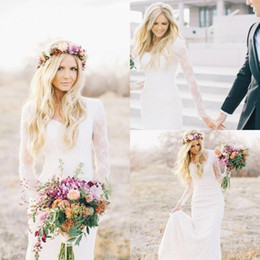 Custom Made Country Style Bohemian Hippie Lace Wedding Dresses 2020 V Neck Long Sleeves Plus Size Custom Made Sheer Lace Boho Bridal Gowns