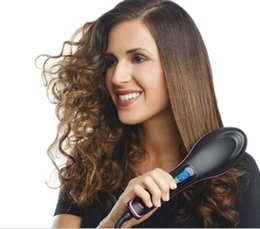 Wholesale Newest simply straight artifact electric degital control antiscaled hair straightener brush comb small package with lcd display DHL Free
