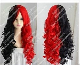 High Quality Fashion Picture full lace wigs >2017 Beautiful Harley Quinn wig Black and red long curly hair cosplay wig