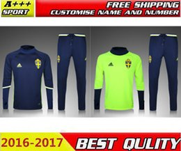 Wholesale 2016 New Top quality Sweden soccer tracksuit chandal Sweden football Tracksuit training suit skinny pants Sportsw