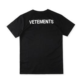 US Size 2017 High Quality VETEMENTS Staff T-Shirts Men Women 100% Cotton Logo Black Tee Back Print High Street Skateboards Classic T-shirt