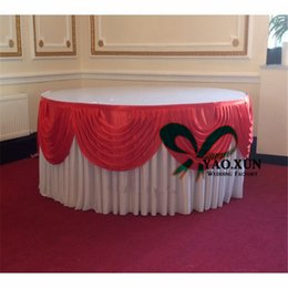 Nice Round White Color Ice Silk Table Skirt With red top Swags For Wedding Decoration
