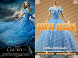 La réalisation de films à vendre-Nouveau 2015 Cendrillon Princesse Robe bleue Costume Costume Film Custom Made
