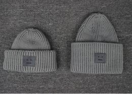 Wholesale Children and adults fashion hat smiling face ACNE squares Upset to keep warm Male ladies knitting wool hat fall and winter