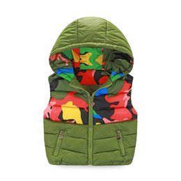 Boys autumn and winter vest new Slim hooded cotton vest fashion Camouflage print Kidss models down jacket waistcoat vest