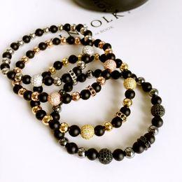 Brand New Hot Fashion Jewelry Bracelets Gold Pave CZ Ball Beads 6mm Natural Rubber Bracelets for Men Women