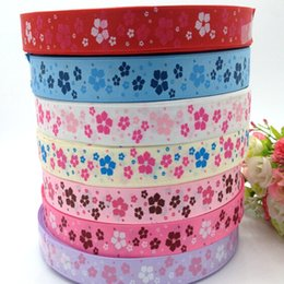 "10 yards 1"" grosgrain ribbon printed flower DIY Weaving wedding christmas decorations for making hair bows R005"
