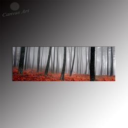 No Framed Wall Decor Painting Panel Design Grey and Red Forest Landscape Giclee Prints for Dining Room Decoration