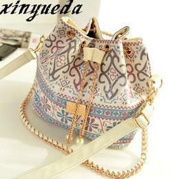 New Designed Canvas Bucket Bag Sequin Women Vintage National Messenger Bag Handbag Purse with Shoulder Chains - X261