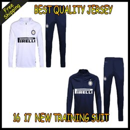 Wholesale 2016 Top quality Inter Milans soccer tracksuit chandal Inter Milans football Tracksuit training suit skinny pants Sportswear