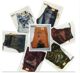 Wholesale New Fashion Mens Robin Jeans Denim Pants with Crystal Studs Flap Pockets Gold Wings Clip Washed Designer Cowboy Jean us size