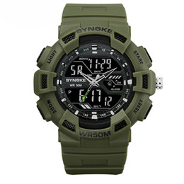 Venta al por mayor de doble pantalla reloj deportivo Pantalla negra Moda ejército militar relojes impactantes Relojes casuales Deportes Relojes al aire libre a prueba de agua