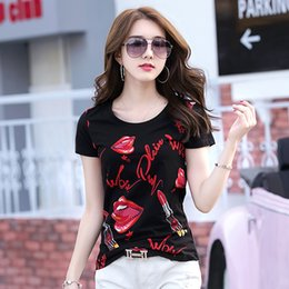 2017 new ladies T-shirt fashion lipstick lips female round collar show thin jacket with short sleeves