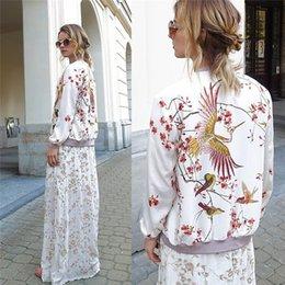 Wholesale Women Elegant Chinese Style Print Long Sleeve Casual White Outwear Female Bomber Jacket Basic Coat Tops Jaqueta Feminina