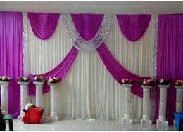 Wholesale 3m m m m m m Wedding Backdrop Swag Party Curtain Celebration Stage Performance Background Drape Silver Sequins Wedding Favors Suppliers