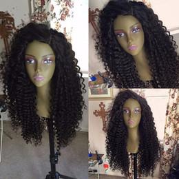 2017 cheveux ondulés tisse pour les femmes noires Free Part Long Afro Kinky Cheveux Bouclés Glueless Pleine Lace Perruques Cheveux Wavy Weave Curly Wig 100% Cheveux Humains Noir Femmes cheveux ondulés tisse pour les femmes noires sur la vente