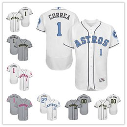 Custom Houston Astros 1 Carlos Correa White Gray 2017 Father Mother Memorial Day Stitched Any Name Number Mens Flex Base Jerseys S-4XL