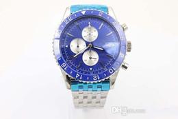 Wholesale High quality Hot Sale Phantom Blue Face Quartz Men s Wristwatch Platinum Skeleton Three Tone With Annual Calendar Stopwatch Male Watch