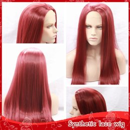 Hot Sexy Burgundy Silky Straight Long Wigs With Baby Hair Glueless Brazilian Synthetic Lace Front Wigs for Black Women Heat Resistant