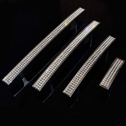 Wholesale 160mm fashion deluxe rhinestone wardrobe kitchen cabinet door handles silver glass crystal bookcase drawer knobs pulls mm quot
