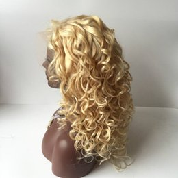 130% density Lightest blonde human hair wig blonde full lace wig loose wave top quality blonde #613 lace front wigs